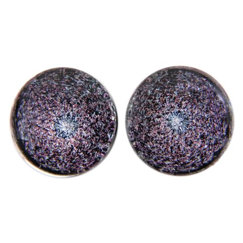 Pink Color Foil Galaxy Glass Plugs - Double Flare - 9/16