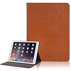Canwelum Smart Leather iPad Air 2 Case, Brown Leather Case for iPad Air 2, Stand-up Protective iPad Air 2 Cover (Case Only for iPad Air 2)
