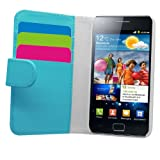 Samrick Soft Leather Book Wallet Case with Credit Card/Business Card Holder for Samsung i9100 Galaxy S2 - Sky Blue