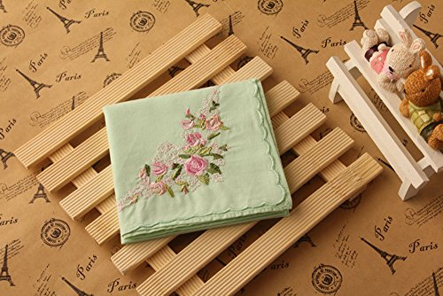 La Closure Vintage Floral Cotton Embroidered Ladies Handkerchiefs Pack 5