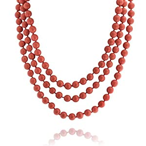 Bling Jewelry Orange Simulated Coral Long Shell Pearl Strand Endless Necklace 64in