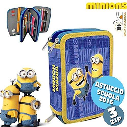 Astuccio 3 Zip Minions Portapastelli Portapenne Astuccio con Colori e Accessori Scuola Cancelleria Disegno