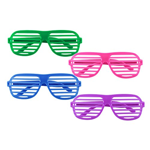 12 Pairs of Plastic Shutter Glasses Shades Sunglasses Eyewear Party Props Neon Colors By Super Z Outlet® (Sun Shades For Glasses compare prices)
