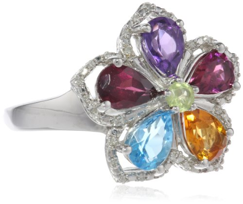 Sterling Silver Multi-Color Gemstone and Diamond Ring, Size 7