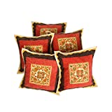 Rajrang Sofa Décor Cushions Designer Cushion Cover Mirror Embroidery Work Set 5 Pcs - B00RCM8E48