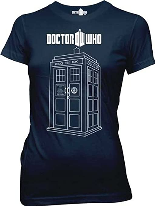 Dr. Doctor Who Police Booth Linear Tardis Navy Juniors T-shirt Tee: Clothing