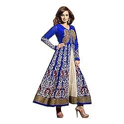Net blue anarkali semi stitched embroidered dress