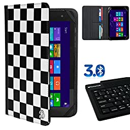 Premium Folio Case White Checkers For Ematic Quad Core / Dual Core / Eve-Tech Eve 8.1 / Fujitsu STYLISTIC 8 / Hannspree HANNSpad / Hipstreet Dual Core / Titan 7 + Bluetooth Silicone Keyboard