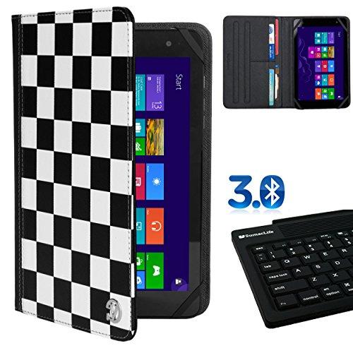 Premium Folio Case White Checkers For Ematic Quad Core / Dual Core / Eve-Tech Eve 8.1