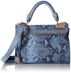 Foley + Corinna Dione Cerberus Mini Messenger Handbag, Azul Snake, One Size