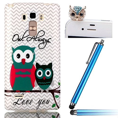 Sunroyal® 3 in 1 Protettore Custodia Case Morbido in Silicone e TPU per LG G4 Stylus (5,7 pollici) Smartphone Protettiva Cassa Caso Anti Scivolo Scomparto Brushed Ultra-sottile Slim Sleeve Skin Copertura Shell Soft Bumper Case Cover Posteriore + Diamante Cristallo Rhinestones Carino Owl 3.5mm Anti-spina della polvere Headset Jack+ Bling Capacitive Metallo Stilo Stylus Pen, Sveglio Bello Due Piccoli Gufi Owl Stampa dell Modello