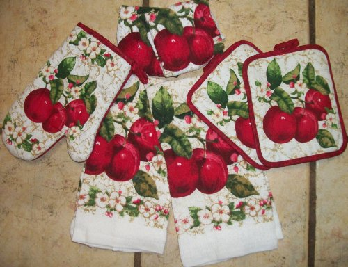 Lovely Set OF Apple Dish Towels/ Dish CLoths/OVen