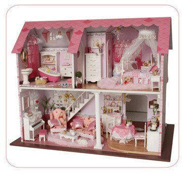 Big Dollhouse Miniature Diy Wood Frame Kit With Light Model Sweet Promise Gift Ldollhouse188-D78