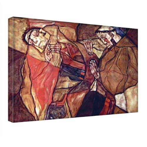 """""""Agony The Death Struggle"""" by Schiele, Stampa artistica da parete/Tela moderna. Dimensioni 16'' x 22'' - 40.5 x 56cm."""