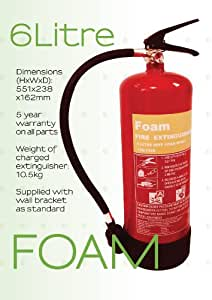 6 Litre FOAM Fire Extinguisher 6Ltr -Fully Certified - fully CE marked