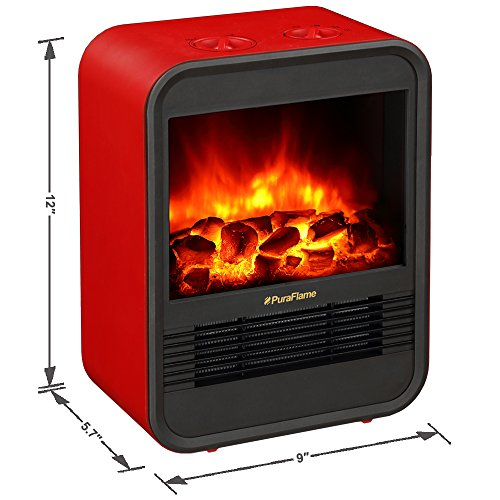 PuraFlame Clara Red 9 inch Mini Portable Fireplace Heater, Adjustable Thermostat Easy Mobility Ultra Safe with Tip Over and Overheating Protection, 650W/1250W