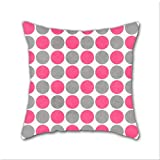 Cotton Linen Throw Pillow, Decorative Pillows.? Hot Pink And Gray Dots Cotton Linen Square Decorative Throw Pillow Case Cushion Cover 18 x 18 Inch