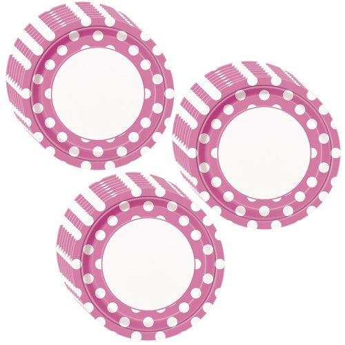 Hot Pink Polka Dot Party Lunch/Dinner Plates - 24 Guests