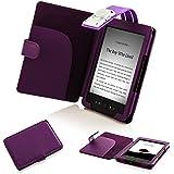 """ForeFront Cases® Housse Étui en cuir synthétique avec lampe de lecture LED, Noir - pour Amazon Kindle 4 Wi-Fi, 6"""", affichage encre électronique E Ink, Violet - 5th Gén SEPT 2012 Case Cover"""