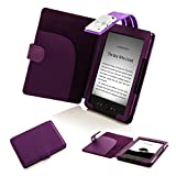 Forefront Cases T4 PURPLE L Leather Case Cover Wallet with LED Reading Light for Amazon Kindle 4 - Purple