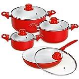 TecTake 8 piece ceramic barbecuing pots lids pan pot saucepan cookware set red