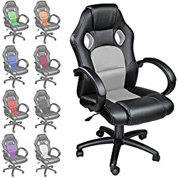 TecTake Poltrona Sedia direzionale da ufficio Racer classe di lusso - disponibile in diversi colori (Grigio)