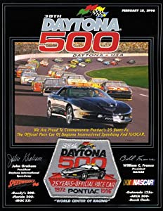 NASCAR Canvas 22 x 30 Daytona 500 Program Print Race Year: 38th Annual - 1996 by Mounted Memories