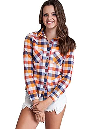 Ladies Orange Long Sleeve Plaid Front Pockets Shirt At