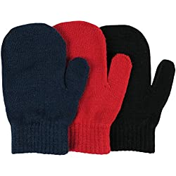 N'Ice Caps Little Boys and Infants Magic Stretch Mittens 3 Pairs Assortment (6-18 Months, Solid - Red/Navy/Black)