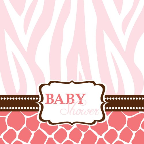Creative Converting Baby Shower Wild Safari Pink 16 Count 3-Ply Paper Lunch Napkins
