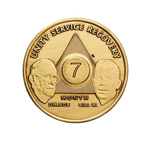 7 Month Bill & Bob Founders Edition Bronze AA (Alcoholics Anonymous) - Sober / Sobriety / Birthday - Anniversary Recovery Medallion / Coin / Chip - 1