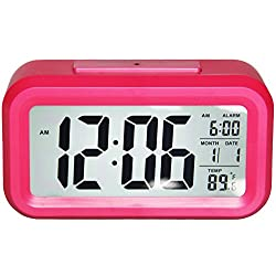 Gloue Digital Alarm Clock Battery Operated- Bedroom Clock- Temperature Display- Snooze and Large Display- Smart Night Light(white Backlight)- Battery Operated Alarm Clock and Home Alarm Clock.(pink)