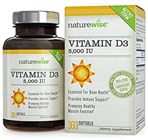 NatureWise Vitamin D3 5,000 IU in Organic Olive Oil, Non-GMO, USP Grade, 360 count by NatureWise