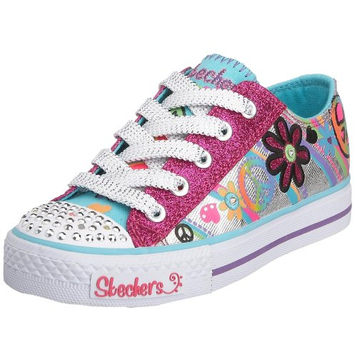 Skechers Junior Shuffles Groovy Baby Lace-Up Silver/Turquoise 10151L SMLT 2 Child UK