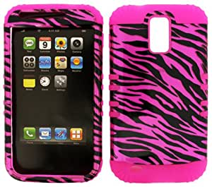 2 in 1Hybrid Pink Silicone Case+Pink Zebra Hard Cover Snap on For T-Mobile Samsung Galaxy S2 II T989