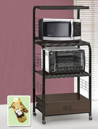 New Black Metal Finish Rolling Microwave Cart With Power Strip