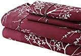 Spirit Linen Foliage Collection Printed Luxurious Microfiber Sheet Set, Queen, Burgundy/Ivory