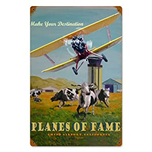 Planes of Fame Chino Airport Vintage Metal Sign Airplane 12 X 18 Not Tin