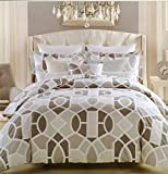 Max Studio Modern Lattice Geometric Pattern Large Tiles 3pc King Duvet Cover Set
