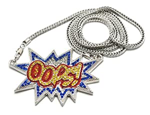 Iced Out OOPS! Yellow/Blue Silver Tone Pendant w/ 4mm 91.44cm Franco Chain MP703-4R