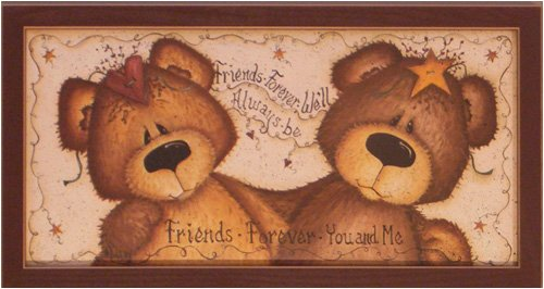 Framed Friends Forever Country Teddy Bears Picture