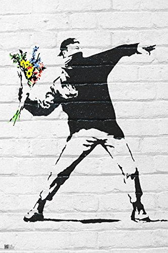 "Flower Bomber by Banksy (Reproduction) 24""x36"" Art Print Poster"