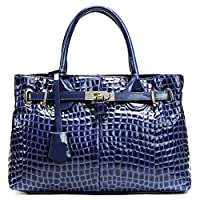 PASTE Women's Elegant Split Leather Crocodile Grain Hot Totes/Shoulder Bag,Handbag Blue