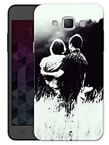 """Humor Gang Monochrome Couple Cover Printed Designer Mobile Back Cover For """"Samsung Galaxy E7"""" (3D, Matte, Premium Quality Snap On Case)"""