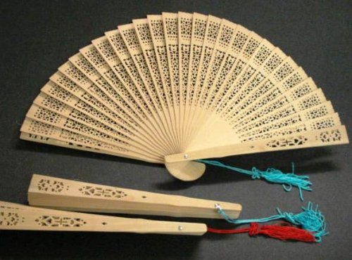 "Sandalwood scented Wooden Fans #E040A (three, 8"" fans)"