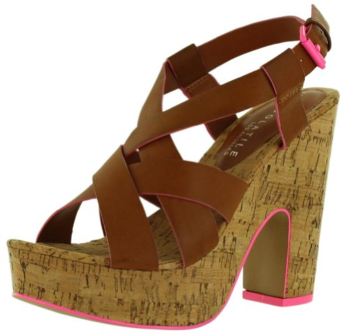 Very Volatile Piped Women'S Sandals Platform Heels Cork Brown Size 8 front-542373
