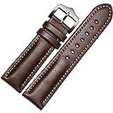 フーポット 時計バンド 本革 交換ベルト 上品なクラシックスタイル 時計用 ベルト オイリーカウハイド レザーワンタッチで装着簡単 アダプター付き (ブラウン)