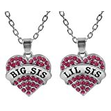 Matching Big Sis Lil Sis Pink Crystal Heart Necklace Set Gift for Little Sisters BFF Girls Teens Women