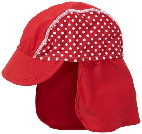 Playshoes Baby - Mädchen Mützchen 461038 Bademütze / Badekappe in rot mit weißen Punkten mit UV-Schutz nach Standard 801 und Oeko-Tex Standard 100, Gr. 49, Rot (rot)