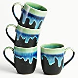 Cultural Concepts Green And Black Basic Coffee Mugs - Set Of 4pcs